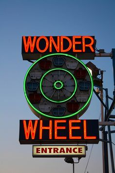 Wonder Wheel Neon Sign by Matthew Pugliese, via Flickr