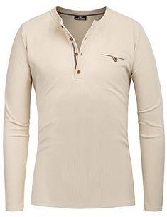 e1b3dbe70 PAUL JONES Men s Henley Slim Fit Long Sleeve Crew Neck T Shirt  mens  shirts
