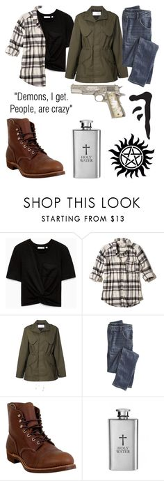 """Dean Winchester"" by moriah-fashion ❤ liked on Polyvore featuring Hollister Co., Julien David, Wrap and Red Wing"