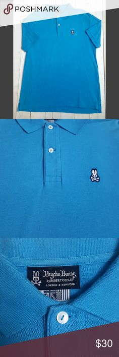 "Mens XL Psycho Bunny Blue Polo Shirt Casual Size: XL - May fit a large as well. Please go by measurements.  Materials: 100% Cotton  Chest: 22""  Sleeve: Short  Length: 27"" Psycho Bunny Shirts Polos"
