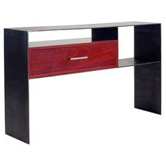 raw steel with single accent drawer console table Modern Brands, All Modern, Modern Contemporary, Wood Species, Open Shelving, Console Table, Sofa Tables, Steel, Storage