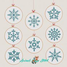 Christmas Ornaments Snowflakes cross stitch pattern modern Snowflakes set 8 cross stitch M. Cross Stitch Christmas Ornaments, Christmas Snowflakes, Christmas Cross, Merry Christmas, Christmas Deer, Modern Christmas, Disney Christmas, Snowflake Embroidery, Christmas Embroidery Patterns