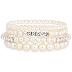 Cream pearl and diamante crystal four row bracelet (260 RUB) ❤ liked on Polyvore featuring jewelry, bracelets, 27. bracelets & watches., accessories, pulseiras, women's jewellery, pearl jewelry, crystal jewellery, diamante jewelry and crystal stone jewelry