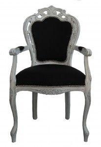 Casa Padrino Barock Esszimmer Stuhl Mit Armlehne Schwarz / Vintage Weiß   Designer  Stuhl   Luxus Qualität