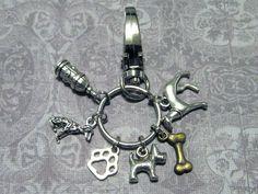 DOG Keychain with SIX Charms - Custom Orders Welcome