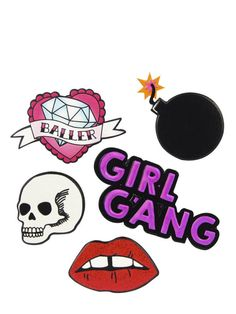 This sticker pack for girl gangs. | 21 Items Every Pink Lady 100% Needs