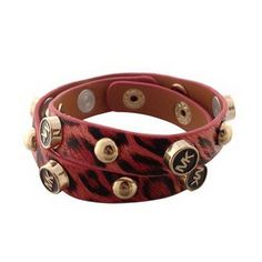 9d44bb0d9c9a Michael Kors Tiger Tattoo Leather Red Accessories Outlet -Tiger tattoo  leather -Stud detail with logo -Golden hardware