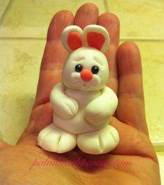 Mini bunny rabbit cake topper/ accent. Handmade with fondant. Palm beach pastry