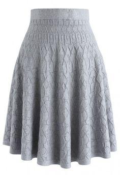 To Autumn Knit A-Line Skirt in Grey Faldas 5234ae6e6710