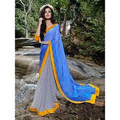 http://www.thatsend.com/shopping/lp/fvp/TESG203126/i/TE266184/iu/blue-satin-half-and-half-saree  Blue Satin Half And Half Saree Apparel Pattern Printed. Work Print, Border Lace. Blouse Piece Yes. Occasion Mahendi, Sangeet. Top Color Yellow.