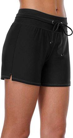 bcbdb635f0 beautyin Black Stretch Board Short for Womens Boyleg Swim Short Swimsuit  Bottoms