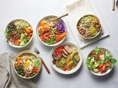 This is a riff on the Korean rice dish bibimbap, in which various toppings are arranged over a bed of rice. Here, Thai crunch bowl must-haves such as