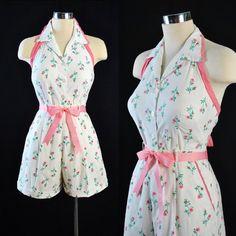 9f41b002d7f Vintage 1950s High Waist SHORTS ROMPER Set Halter Top   50s Pink ROSE Print  Floral White Cotton Sun Suit Playsuit Garden Party Small Medium