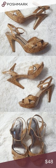 Gianni Bini Love Bug Cork Heeled Platform Sandals These sandals from Gianni Bini are perfect with shorts, dresses or skirts. Cork upper with manmade sole & lining. These are in excellent condition & look like they've never been worn. Gianni Bini Shoes