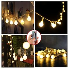 [Remote and Timer] 16 Feet 50 LED Outdoor Globe String Lights 8 Modes Battery Operated Frosted White Ball Fairy Light