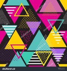 Seamless geometric pattern in retro 80s style. Pop art triangles. fashion style pattern illustration background. Ideal for fabric design, paper print and website backdrop. EPS10 vector file.