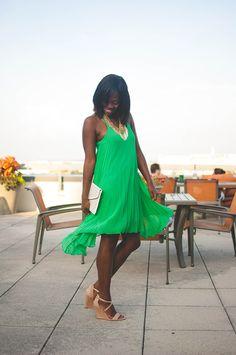 green pleated sundress