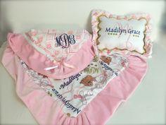 Ruffled Monogrammed Receiving Blanket & Pillow set