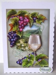 White Wine Grapes On The Vine on Craftsuprint designed by Anne Lever - made by Margaret McCartney - I printed the design onto good quality photographic paper and cut it out. I scored and folded a C5 scalloped edged card. I attached the design to the card using double sided tape. I assembled the decoupage using thin foam tape. I added the greeting using thin foam tape. Gorgeous card with amazing graphics. - Now available for download!