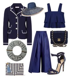 """""""Navy"""" by aheavingham on Polyvore featuring Chanel, Solace, Tory Burch, Clare V., Armani Jeans and Alexandre Birman"""