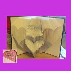 Book Folding Pattern 3 Hearts 240 Folds Instant by CraftyHana
