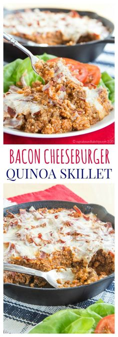 Bacon Cheeseburger Quinoa Skillet - a healthy, family-friendly meal with all of the ingredients and flavors of a beefy favorite. My boys devoured this protein-packed recipe. | cupcakesandkalechips.com | gluten free recipe