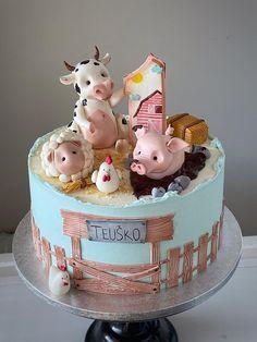 Animal Birthday Cakes, Farm Animal Birthday, Farm Animal Cakes, Farm Cake, Cute Cakes, Cake Smash, No Bake Cake, Baking Recipes, First Birthdays