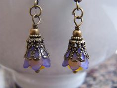 Purple Gold Lucite Crystal Dangle Earrings Doodaba by doodaba Purple Earrings, Dangle Earrings, Purple Gold, Dangles, Crystals, Trending Outfits, Unique Jewelry, Handmade Gifts, Vintage