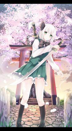「妖夢。」/「桜餅うさ」のイラスト [pixiv] #東方 #魂魄妖夢 #みょん #桜 #鳥居