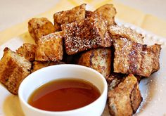 cinammon french toast bites- yummy (but use a firm bread, not Mrs. Baird's)