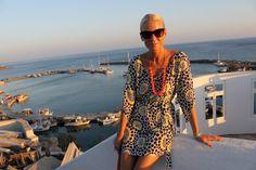 Anna Mavridis in the Greek Islands, wearing our Arabella Kaftan www.vamastyle.com