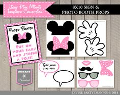Light Pink Minnie Mouse Birthday Party Ideas: Printable Photo Booth Props and Sign. Use promo code PINTEREST10 to save 10% off purchase.