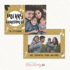 Christmas card template Christmas photo cards by StudioStrawberry