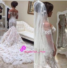 Vintage 3D-Floral Appliques 2016 Mermaid Lace Wedding Dresses with Sheer Off Shoulder Illusion Back Long Tiers Train Sleeves Bridal Gowns Mermaid Wedding Dresses Trumpet Bridal Gowns Wedding Gown Online with $389.59/Piece on Xiaoxiao_2017's Store   DHgate.com