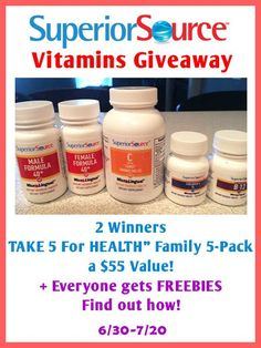 Join our Superior Source Vitamins Giveaway! 2 Winners will win $55 prize pack http://madamedeals.com/?p=492631 #superiorsource #inspireothers