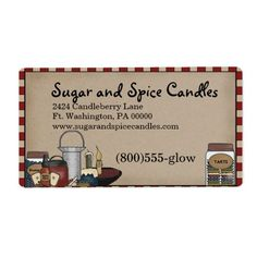 Country Candle Primitive Shipping label. Full color, just easily add your information. Matching Business card available.