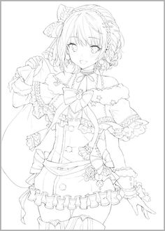 Manga Coloring Book, Cute Coloring Pages, Coloring Books, Anime Character Drawing, Manga Drawing, Cute Anime Character, Anime Drawings Sketches, Anime Sketch, Cute Drawings