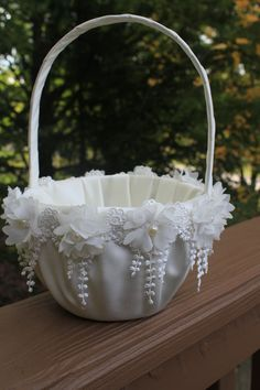 White or Ivory Flower Girl Basket with Delicate Chiffon Flow.- White or Ivory Flower Girl Basket with Delicate Chiffon Flowers and Dangling Lace Trim-More Colors Available-Flower Girl Age - Wedding Gift Baskets, Wedding Gifts, Flower Girl Basket, Flower Girls, Chiffon Flowers, Basket Decoration, Wedding Accessories, Diy Gifts, Henna