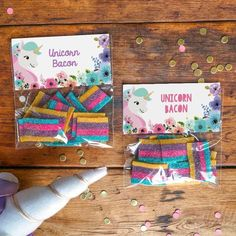 Unicorn Birthday Party Treat Bag Toppers | Floral Unicorn Favors
