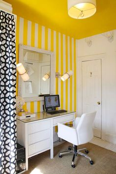 Love the yellow and the white stripes. I would NOT do a yellow ceiling. My color scheme is light grey, yellow, a lighter tiffany blue, with white trim and ceiling.