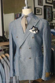 DB jacket, linen tie, knitted PS