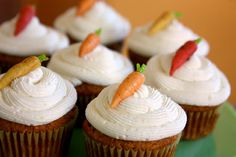 CARROT CUPCAKES Recipe... Egg-Free & Dairy-Free Dairy Cupcakes with 'cream cheese' frosting & candy carrots. #cupcake #recipe