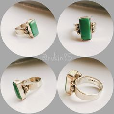 925 Silver Green Authentic Turquoise Ring