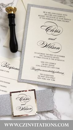 Silver Glitter Invitation! This color match is a classic and is popular among 2021 brides! Special touches like the silver mirror accent create a unique touch to a classic look. Glitter Wedding Invitations, Unique Invitations, Printable Wedding Invitations, Wedding Stationery, Pocket Invitation, Invitation Envelopes, Invitation Design, Silver Glitter