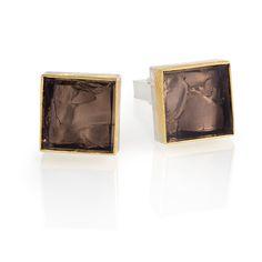 Silver and 24ct Gold Cufflinks with Smokey Quartz | Contemporary Cufflinks by contemporary jewellery designer Josef Koppmann