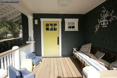 Granny Smith Apple Green door, white trim, charcoal gray siding