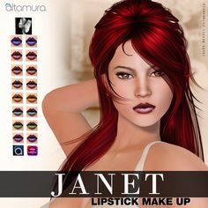 """💄💄 ᗩᒪTᗩGᖇOᑌᑭ: """" ᒍᗩᑎET """" ᒪIᑭᔕTIᑕK ᗰᗩKE ᑌᑭ 💄💄  It consists of 8 different lipstick.  This makeup works with Altamura applier if you wear one of Altamura heads or with Omega System for all others.  Make Up has been created by Milla Rasmuson Makeup.  MP: marketplace.secondlife.com/p/Altagroup-Janet-Lipstick-Mak...  Store: maps.secondlife.com/secondlife/Capodorso/225/52/26  The Grab: maps.secondlife.com/secondlife/Lakewood/191/33/36"""