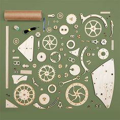 Some assembly required hshg_wooden_mechanical_clock_parts. Wooden Clock Plans, Wooden Gear Clock, Wooden Gears, Wood Clocks, Antique Clocks, Woodworking Furniture Plans, Woodworking Classes, Woodworking Jointer, Woodworking Equipment