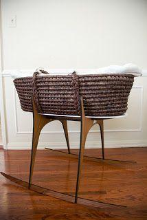 Mid century modern baby moses basket.  LOVE... so me.  A Few of My Favorite Things: DIY