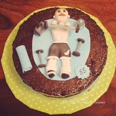 """Birthday Cake for Boys - Gym Themed Basic Chocolate Cake with Mini Fondant Art 